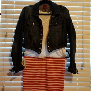 Lularoe Cassie red and white striped SMALL